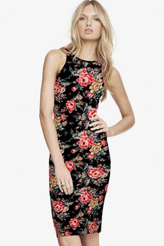 Black Sleeveless Floral Printed Fashion Sexy Ladies Dress