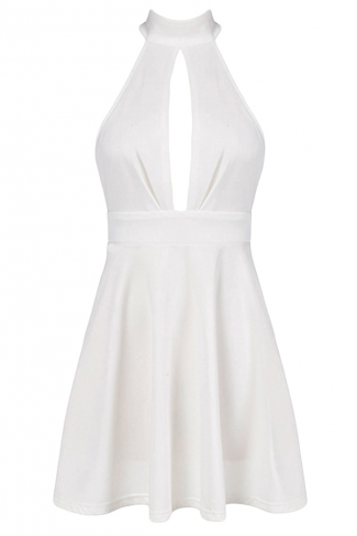 White Ladies Hollow Out Patchwork Halter Midi Dresses