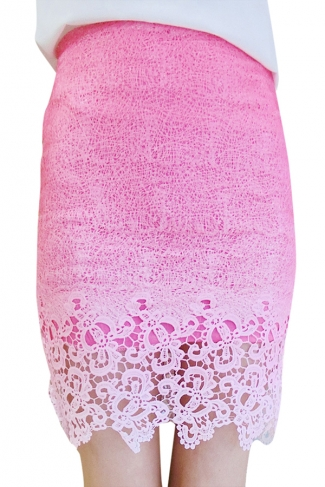 Rose Red Lace Gradient Hollow Out Stylish Ladies Midi Skirt