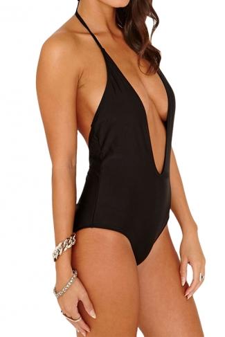 Black Halter Deep V Neck Sexy Backless Womens Monokini