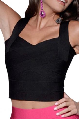 Black Bandage Zipper Sexy Ladies Crop Top