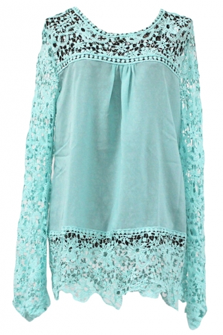 Turquoise Ladies Hollow Out Long Sleeve Lace Blouses
