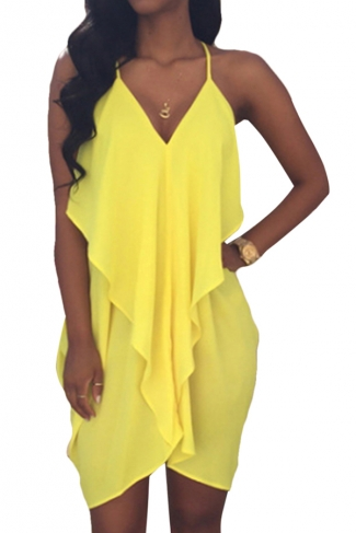 Yellow Ladies Sexy Deep V Neck Peplum Clubwear Dress