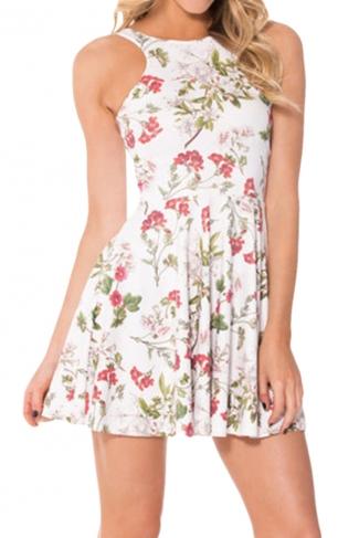 White Floral Printed Sexy Fashion Ladies Skater Dress