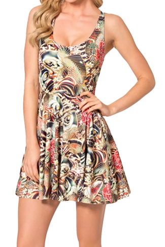 Red Floral Printed Sexy Fashion Ladies Skater Dress