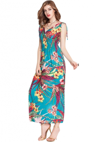 Blue Floral Printed V Neck Attractive Womens Maxi Dress