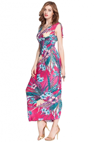 Rose Red Floral Printed V Neck Attractive Womens Maxi Dress