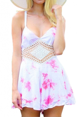 Pink Floral Printed Hollow Out V Neck Stylish Womens Romper