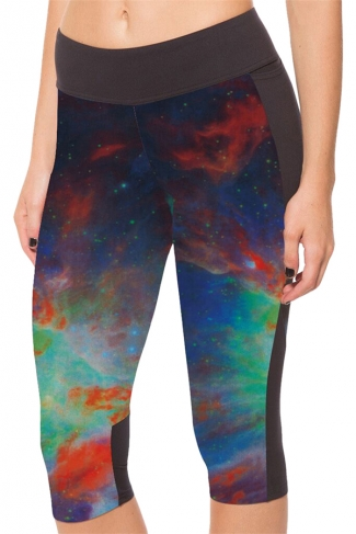 Red Galaxy Printed Side Pockets Ladies Cropped Leggings