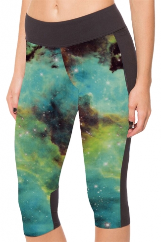 Green Galaxy Printed Side Pockets Ladies Cropped Leggings