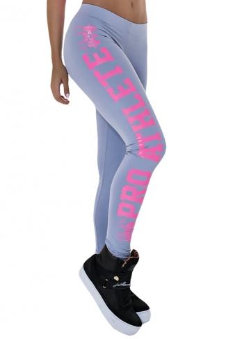 Gray Letter Printed Slimming Womens Sport Leggings