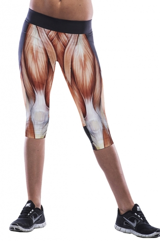 White Muscle Printed Sexy Chic Womens Cropped Leggings