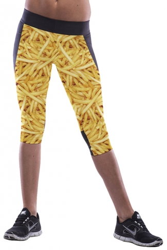 Yellow Chips Printed Sexy Chic Womens Cropped Leggings
