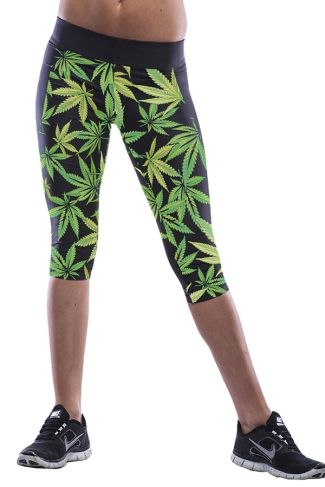 Green Leaves Printed Sexy Chic Womens Cropped Leggings