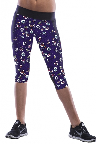 Purple Eyes Printed Sexy Chic Womens Cropped Leggings