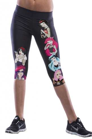 Black Beauties Printed Sexy Chic Womens Cropped Leggings