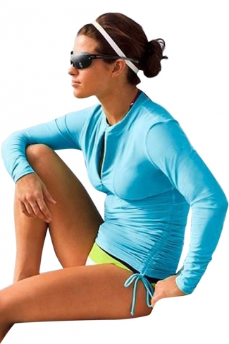 Blue Long Sleeve Double String Fashionable Womens Diving Suit