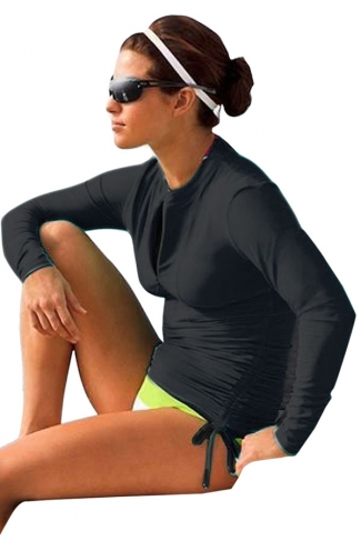 Black Long Sleeve Double String Fashionable Womens Diving Suit