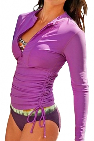 Purple Long Sleeve Double String Fashionable Womens Diving Suit