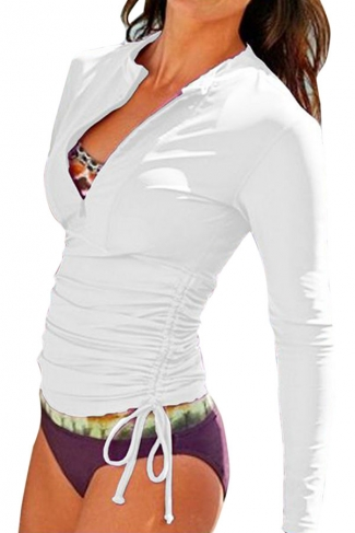 White Long Sleeve Double String Fashionable Womens Diving Suit