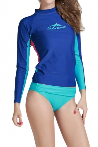 Blue Long Sleeve Color Blocking Chic Womens Diving Suit