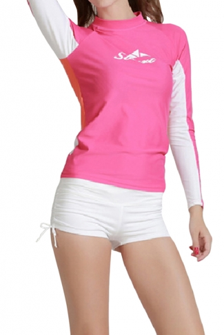 Pink Long Sleeve Color Blocking Chic Womens Diving Suit