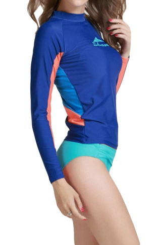 Navy Blue Long Sleeve Color Blocking Chic Womens Diving Suit