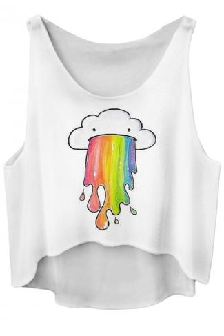White Ladies Rainbow Printed Loose Crop Top