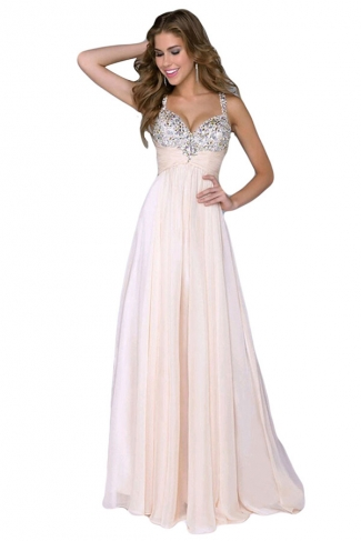 Pink Deep V Neck Backless Chiffon Ladies Evening Dress