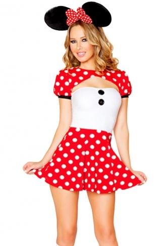Red Cosplay Womens Mickey Halloween Cartoon Costume