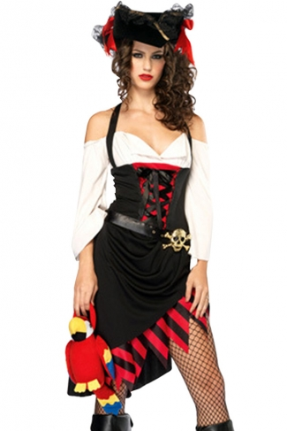 Black Halter Off Shoulder Cool Womens Pirate Halloween Costume
