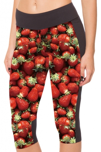 Red Slimming Strawberry Printed Pocket Womens Cropped Leggings
