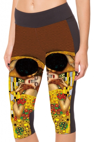 Chestnut Slimming Beauty Printed Pocket Womens Cropped Leggings