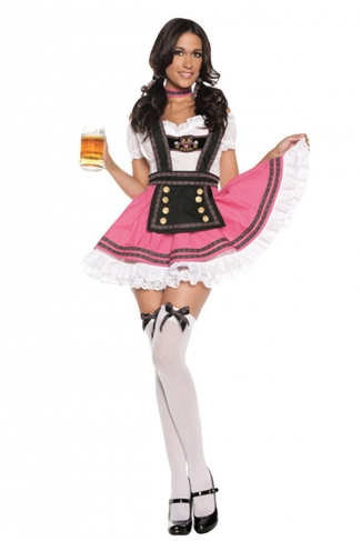 Pink Beer Maid Costume With Apron Strings&Neck Ornament
