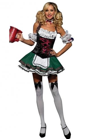 Green Sexy Ladies German Beer Girl Maid Costume