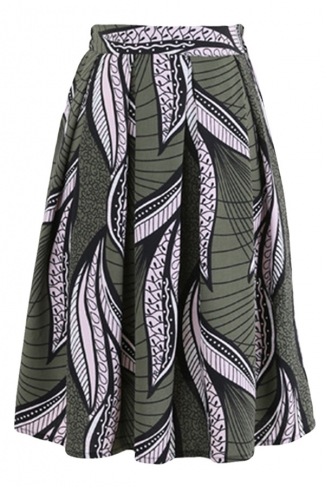 Green Pleated Leaf Printed Womens Midi Skirt