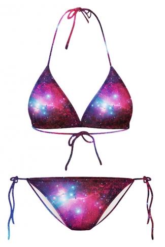 Rose Red Galaxy Printed String Bikini Top & Sexy Swimwear Bottom