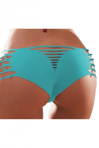 Blue Heart Pattern Bandage Sexy Chic Womens Swimsuit Bottom