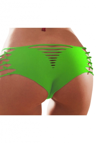 Green Heart Pattern Bandage Sexy Chic Womens Swimsuit Bottom
