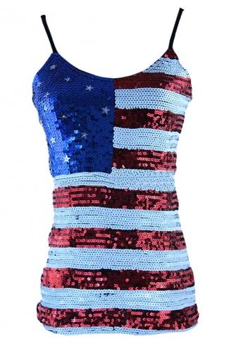 Red Ladies Sequined Mesh American Flag Printed Tank Top
