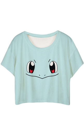 Blue Lovely Squirtle Printed Ladies T-shirt