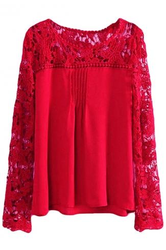 Ruby Plus Size Cut Out Chiffon Long Sleeve Ladies Blouse