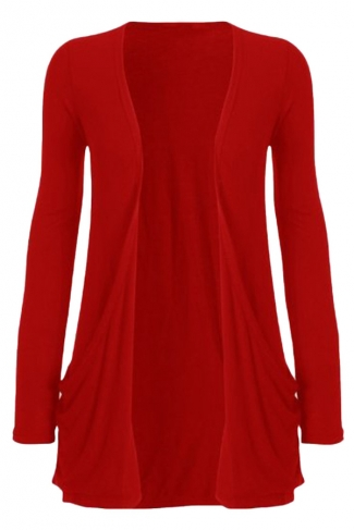 Womens Knitted Long Sleeve Plain Cardigan Sweater Red