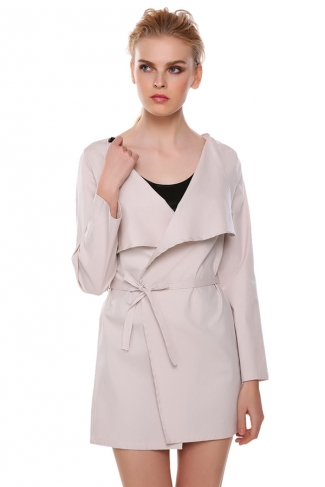 Womens Newest Fashion Sash Long Sleeve Trench Coat Beige