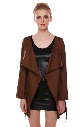 Womens Newest Fashion Sash Long Sleeve Trench Coat Coffee