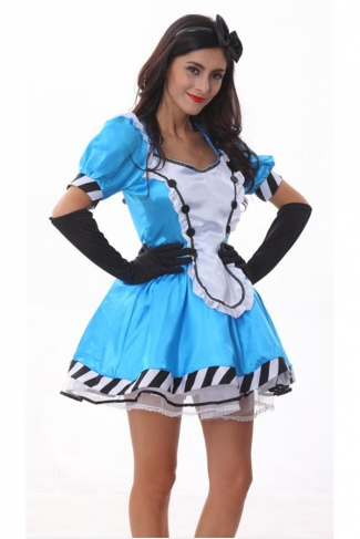 Womens Cute Alice Halloween Costume Blue