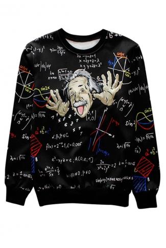 Black Albert Einstein Printed Crew Neck Pretty Ladies Sweatshirt