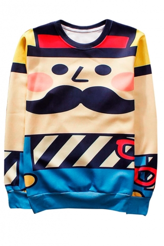Beige Cartoon Character Printed Crew Neck Pretty Ladies Sweatshirt
