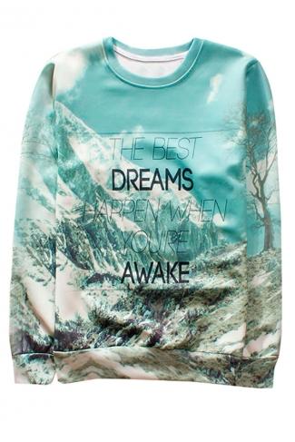 Blue Snow Mountain Printed Crew Neck Pretty Ladies Sweatshirt