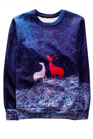 Blue Reindeer Printed Crew Neck Pretty Ladies Sweatshirt